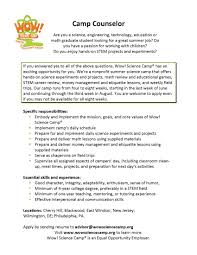 Sample Counselor Resume Mesmerizing Resume For Summer Camp Counselor In Camp Counselor