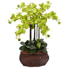 home decoration calming green fake floral arrangements