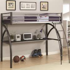 coaster bunks metal twin workstation loft bed with desk and curved