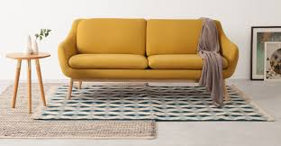 oslo 3 seater sofa yolk yellow with oak legs made com