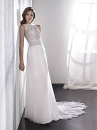 lea sleeveless ibiza beach style wedding dress with bateau neckline