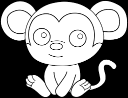 little monkey coloring page free clip art