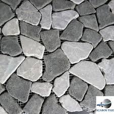 black grey flat pebble mosaic tile backsplash bathroom shower wall