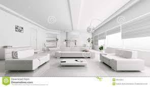 White On White Furniture Interior Of Modern White Living Room Rendering Stock Image Image