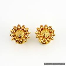 gold ear studs 22ct indian gold ear studs gold jewellery a1 jewellers