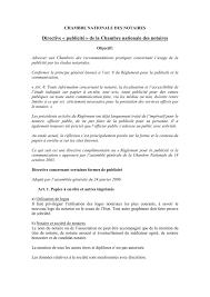 chambre nationale des notaires directive publicité de la chambre nationale des