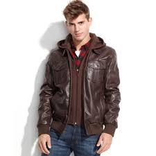 guess jacket fleece hood leather er in brown for men lyst