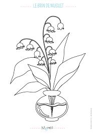 Coloriage Un brin de muguet dans son vase  Momesnet