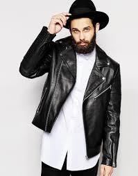 leather biker jacket asos asymmetric leather biker jacket in black in black for men lyst
