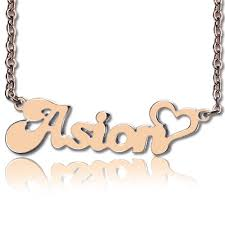 name engraved necklace personalized name necklace with heart gold