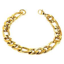 stainless steel chain bracelet images Men 39 s crucible gold plated stainless steel figaro chain bracelet