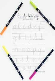 brush lettering practice worksheets lowercase letters