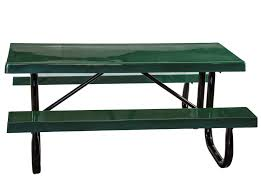 Galvanized Outdoor Chairs 6 Ft Heavy Duty Fiberglass Picnic Table With Welded Galvanized