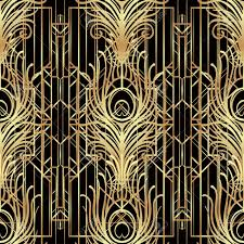 art deco style art deco style geometric seamless pattern in black and gold