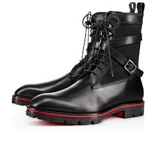 motorcycle boots men safacroc flat version black leather men shoes christian louboutin