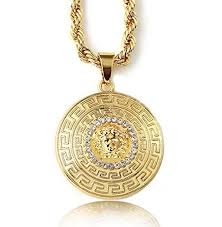rope necklace pendant images Halukakah men 39 s 18k stamp real gold plated 3d quot medusa quot pendant jpg