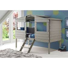 donco trading company rustic grey twin tree house low loft bed