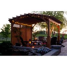riviera wood pergola collection with privacy walls 14 u0027 x 14
