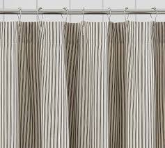 Stripe Shower Curtains Ruffled Ticking Stripe Shower Curtain Black Almond By Pottery