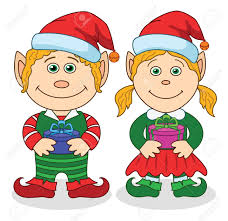cartoon christmas elves boy and with holiday gift boxes