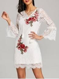 lace dress white l bell sleeve fitted lace dress with slip dress rosegal