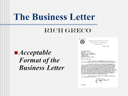 the business letter rich greco acceptable format of the business