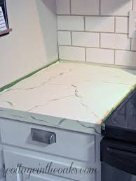 Paint Kitchen Countertops Diy Carrera Marble Painted Kitchen Counters Cottage In The Oaks