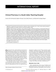 Clinical Pharmacist Resume Clinical Pharmacy In A South Indian Teaching Hospital Pdf