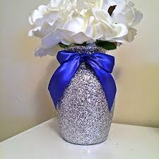 5 silver glitter glass vases with blue bows wedding centerpieces