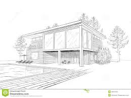 vector sketch of modern house with swimmingpool stock photo