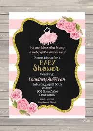 kate spade inspired baby shower invitation custom pink black
