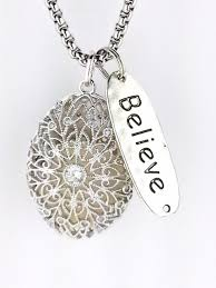 Essential Oil Diffuser by Sterling Silver Essential Oil Diffuser Necklace Locket Believe