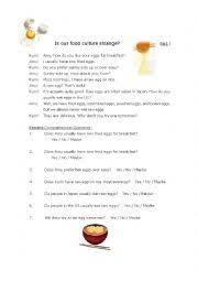 english worksheets reading comprehension japanese food culture