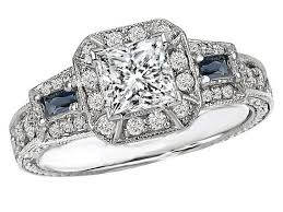 sapphire accent engagement rings engagement ring princess cut halo engagement ring blue