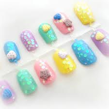 3d sweets kawaii press on nails pastel cookie japanese nail art