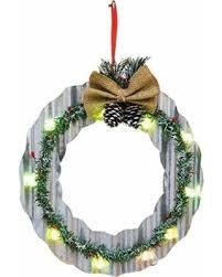 bargains on led lighted corrugated metal tree or wreath
