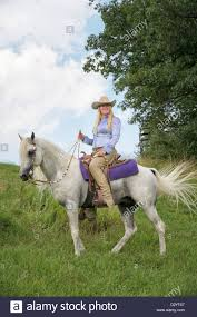 woman horseback riding on beautiful white horse outdoors in nature