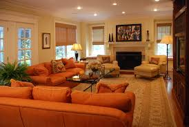 Orange Sofa Living Room Ideas Burnt Orange Sofa Living Room Contemporary With Bright Colors
