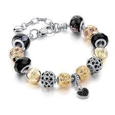 black bracelet charms images Chicvie romantic black crystal charm bracelets bangles for women jpg
