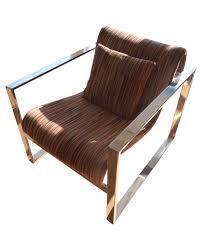 milo baughman mcm chrome lounge chair chairish