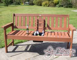 2 seater drinks bench outdoor wooden patio furniture garden