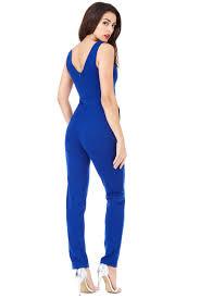 royal blue jumpsuit goddiva womens royal blue jumpsuit cross