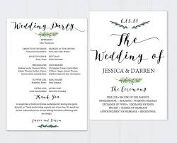 wedding program template greenery wedding program template