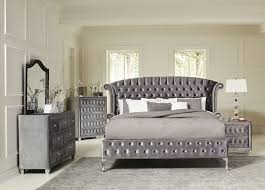 magical 4 pc grey velvet tufted queen platform bed bedroom