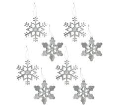set of 8 glittered metal snowflake ornaments page 1 qvc