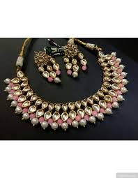 pink necklace set images Stylish baby pink beads artificial kundan necklace set jpg