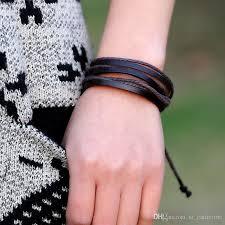 leather wrist strap bracelet images 2018 genuine leather mens bracelets wrist strap dynamic rope wrap jpg