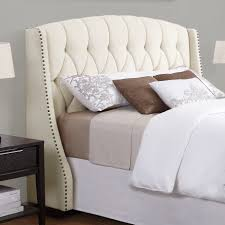 king upholstered headboard with nailhead trim bedroom elsa upholstered wayfair headboard in cream for bedroom