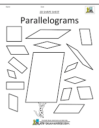 properties of parallelograms worksheet shapes clip grade 2d shapes