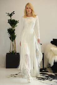 modern bohemian wedding dress with illusion v neckline weddingood